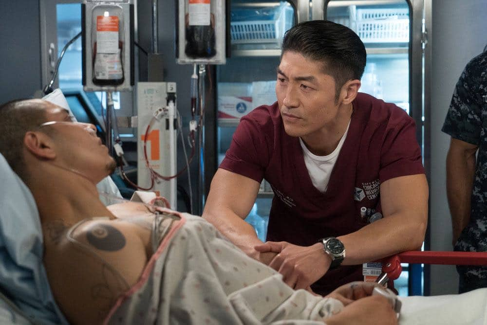 """CHICAGO MED -- """"Win Loss"""" Episode 202 -- Pictured: (l-r) Maynor Alvarado as Marco, Brian Tee as Ethan Choi -- (Photo by: Elizabeth Sisson/NBC)"""