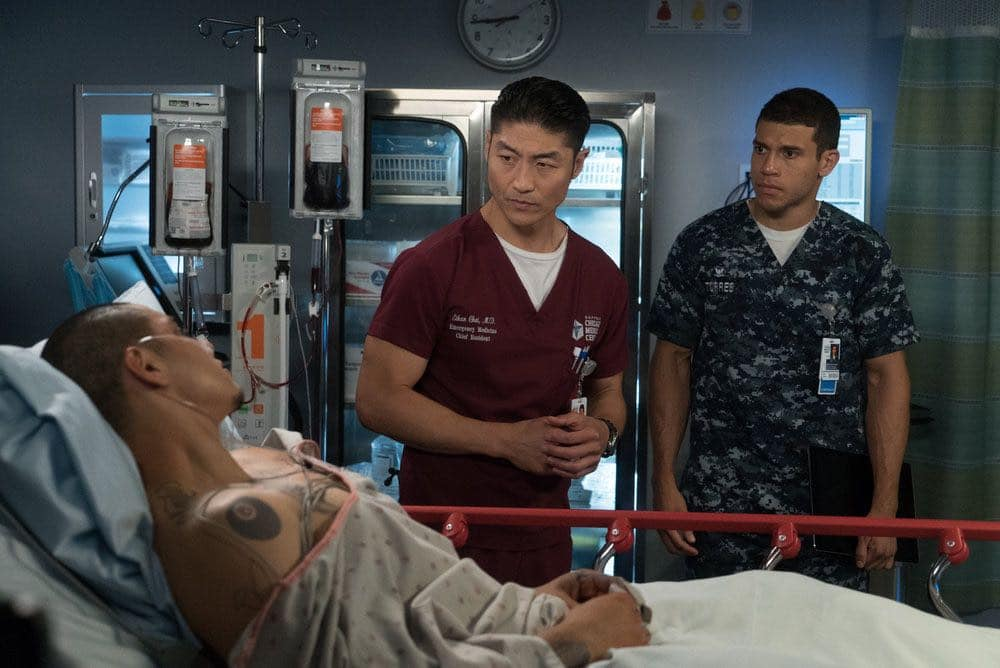 """CHICAGO MED -- """"Win Loss"""" Episode 202 -- Pictured: (l-r) Maynor Alvarado as Marco, Brian Tee as Ethan Choi, Alex Hernandez as Javier -- (Photo by: Elizabeth Sisson/NBC)"""
