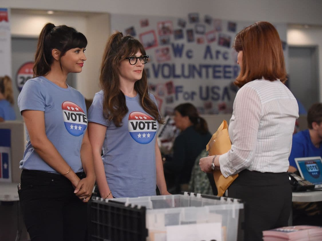 """NEW GIRL:  L-R:  Hannah Simone and Zooey Deschanel   in the """"Hubbedy Bubby"""" episode of NEW GIRL airing Tuesday, Sept. 27 (8:30-9:00 PM ET/PT) on FOX.  ©2016 Fox Broadcasting Co.  Cr:  Ray Mickshaw/FOX"""