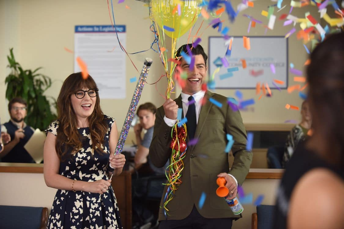 """NEW GIRL:  L-R:  Zooey Deschanel and Max Greenfield   in the """"Hubbedy Bubby"""" episode of NEW GIRL airing Tuesday, Sept. 27 (8:30-9:00 PM ET/PT) on FOX.  ©2016 Fox Broadcasting Co.  Cr:  Ray Mickshaw/FOX"""