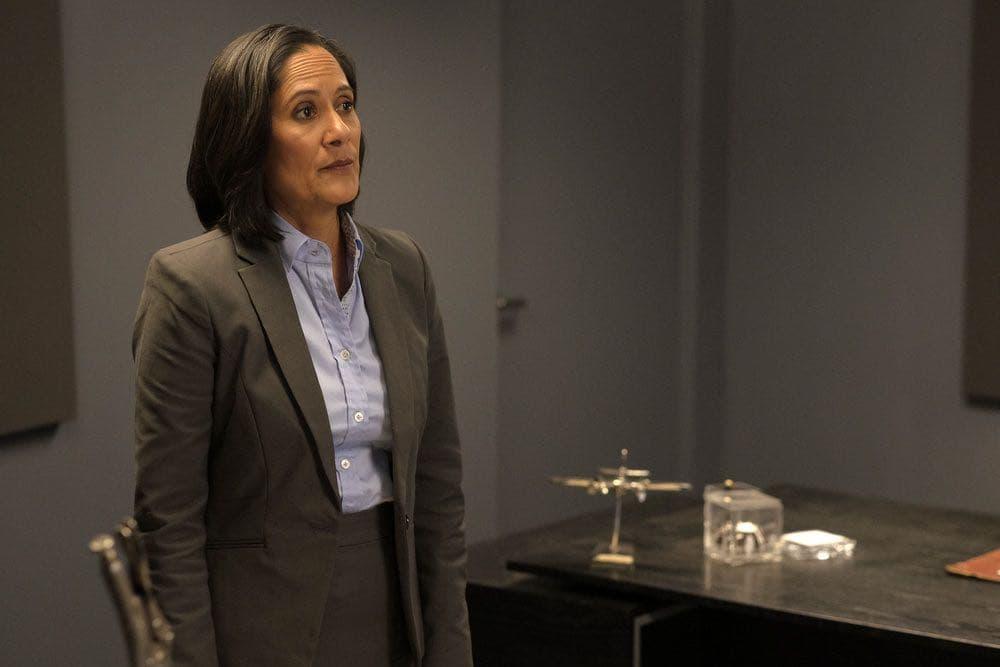 "TIMELESS -- ""Pilot"" -- Pictured: Sakina Jaffrey as Agent Christopher -- (Photo by: Joe Lederer/NBC)"