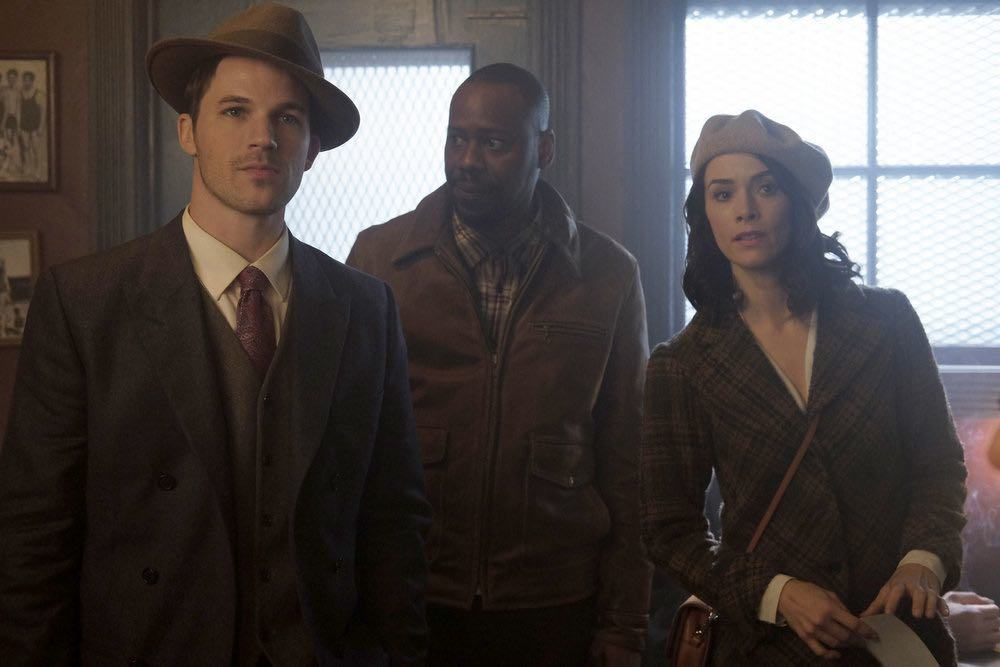 "TIMELESS -- ""Pilot"" -- Pictured: (l-r) Matt Lanter as Wyatt Logan, Malcolm Barrett as Rufus Carlin, Abigail Spencer as Lucy Preston -- (Photo by: Joe Lederer/NBC)"