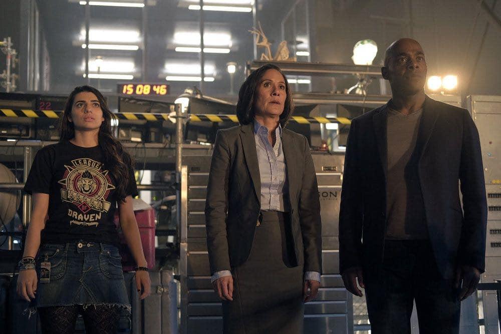 "TIMELESS -- ""Pilot"" -- Pictured: (l-r) Claudia Doumit as Jiya, Sakina Jaffrey as Agent Christopher, Paterson Joseph as Connor Mason -- (Photo by: Joe Lederer/NBC)"