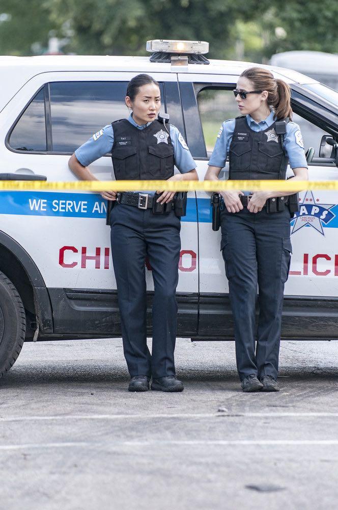 "CHICAGO P.D. -- ""Made a Wrong Turn"" Episode 402 -- Pictured: (l-r) Li Jun Li as Julie Tay, Marina Squerciati as Kim Burgess -- (Photo by: Matt Dinerstein/NBC)"