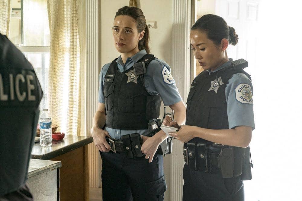 "CHICAGO P.D.  -- ""Made a Wrong Turn"" Episode 402 -- Pictured: (l-r) Marina Squerciati as Kim Burgess, Li Jun Li as Julie Tay -- (Photo by: Matt Dinerstein/NBC)"