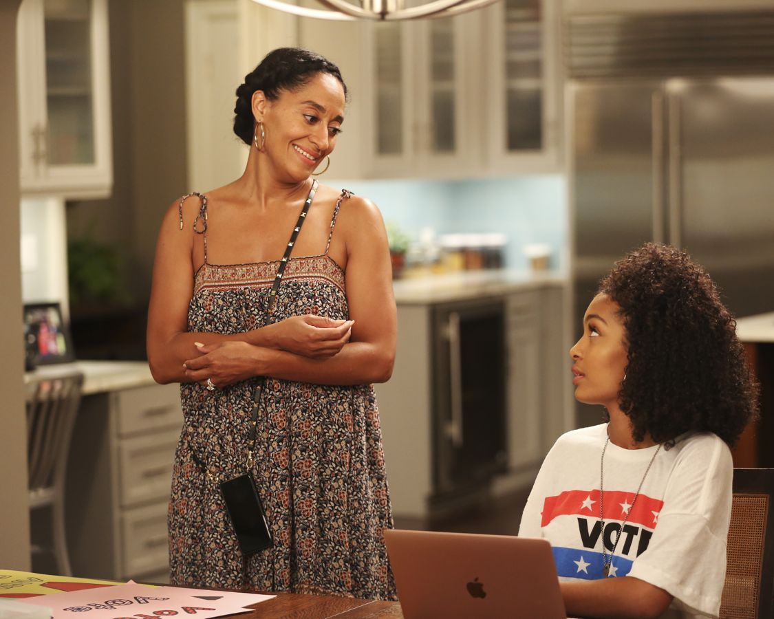 "BLACK-ISH - ""40 Acres and a Vote"" – With Obama leaving office and the upcoming election, Dre finds a new candidate to believe in – Junior. Junior is running for class president and is overqualified for the job, but he just can't seem to connect with his fellow classmates. Dre becomes his campaign manager and tries to make Junior appeal to the masses. Meanwhile, Pops, Johan and Jack discuss why they're not voting in the upcoming election, and Bow is worried that Zoey's college essay is not going to get her into college, on ""black-ish,"" WEDNESDAY, OCTOBER 5 (9:31-10:00 p.m. EDT), on the ABC Television Network. (ABC/John Fleenor) TRACEE ELLIS ROSS, YARA SHAHIDI"