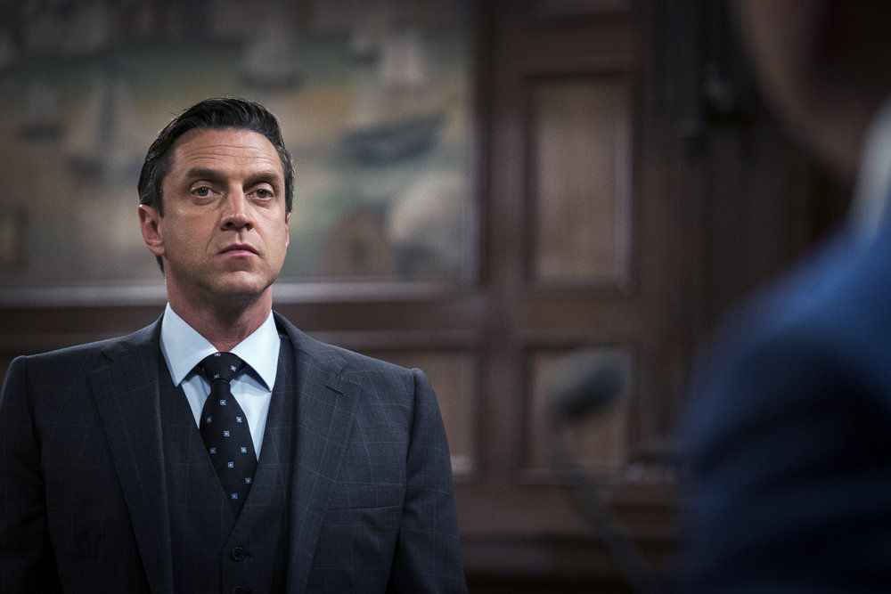 """LAW & ORDER: SPECIAL VICTIMS UNIT -- """"Making A Rapist"""" Episode 1802 -- Pictured: Raul Esparza as Rafael Barba - (Photo by: Michael Parmelee/NBC)"""