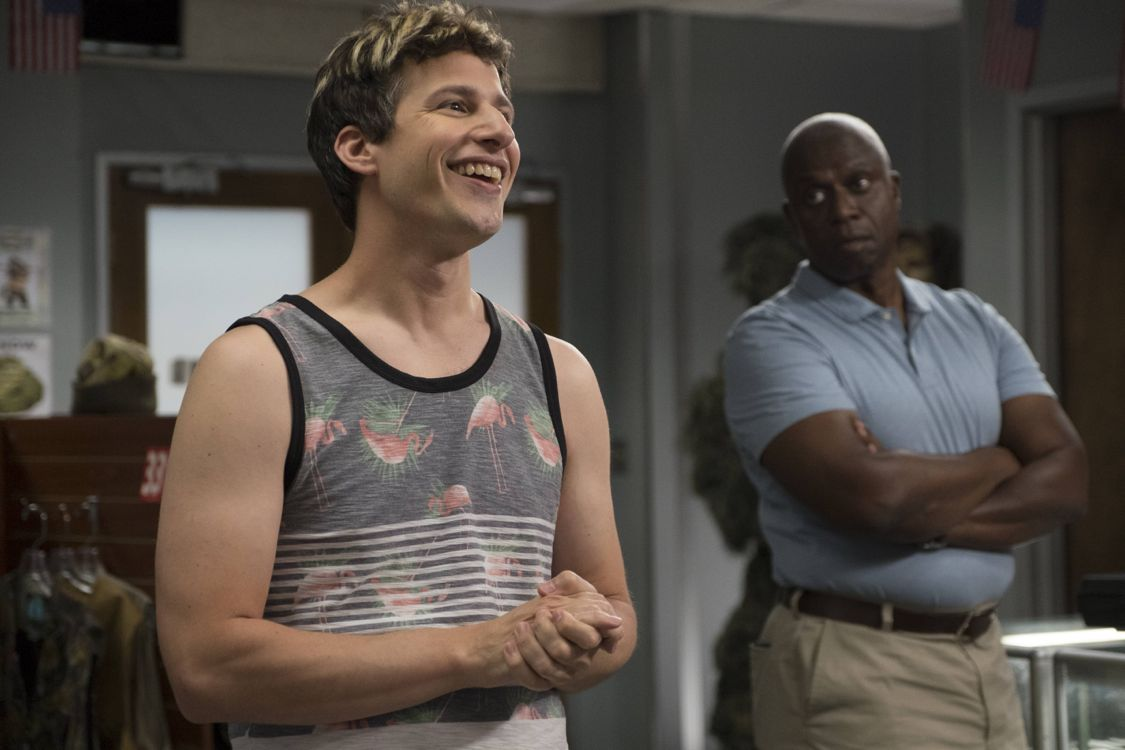 "BROOKLYN NINE-NINE: L-R: Andy Samberg and Andre Braugher in the ""Coral Palms Pt. 2"" episode of BROOKLYN NINE-NINE airing Tuesday, Sept. 27 (8:00-8:31 PM ET/PT) on FOX. ©2016 Fox Broadcasting Co. CR: John P Fleenor/FOX"