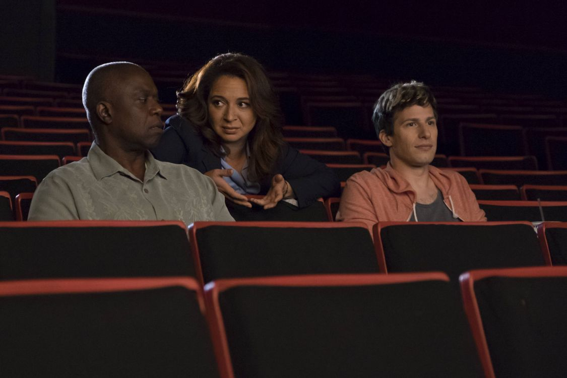 "BROOKLYN NINE-NINE: L-R: Andre Braugher, guest star Maya Rudolph and Andy Samberg in the ""Coral Palms Pt. 2"" episode of BROOKLYN NINE-NINE airing Tuesday, Sept. 27 (8:00-8:31 PM ET/PT) on FOX. ©2016 Fox Broadcasting Co. CR: John P Fleenor/FOX"