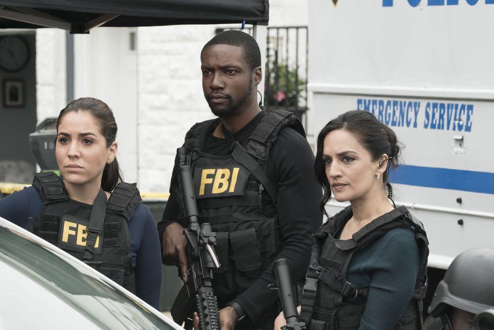 BLINDSPOT -- Episode 203 -- Pictured: (l-r) Audrey Esparza as Tasha Zapata, Rob Brown as Edgar Reade, Archie Panjabi as Nas Kamal-- (Photo by: Virginia Sherwood/NBC)