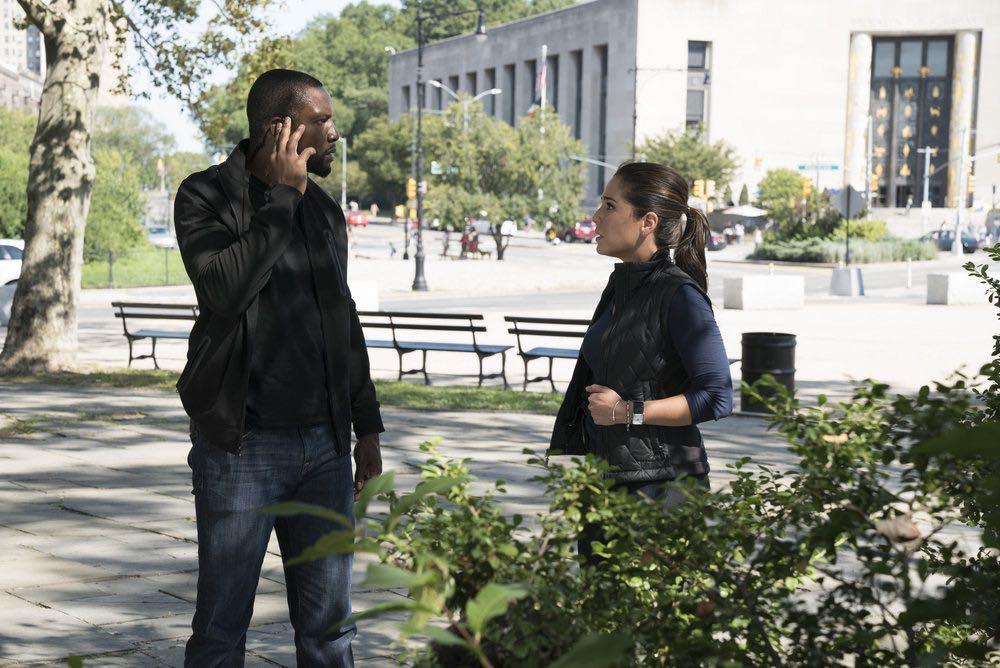 BLINDSPOT -- Episode 203 -- Pictured: (l-r) Rob Brown as Edgar Reade, Audrey Esparza as Tasha Zapata -- (Photo by: Virginia Sherwood/NBC)