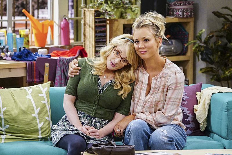"""""""The Military Miniaturization"""" -- Pictured: Bernadette (Melissa Rauch) and Penny (Kaley Cuoco). Colonel Williams (Dean Norris), an Air Force representative from the Department of Material Command sits down to talk with Wolowitz, on THE BIG BANG THEORY, Monday, Sept. 26 (8:00-8:30, ET/PT), on the CBS Television Network. Photo: Sonja FlemmingCBS ©2016 CBS Broadcasting, Inc. All Rights Reserved."""