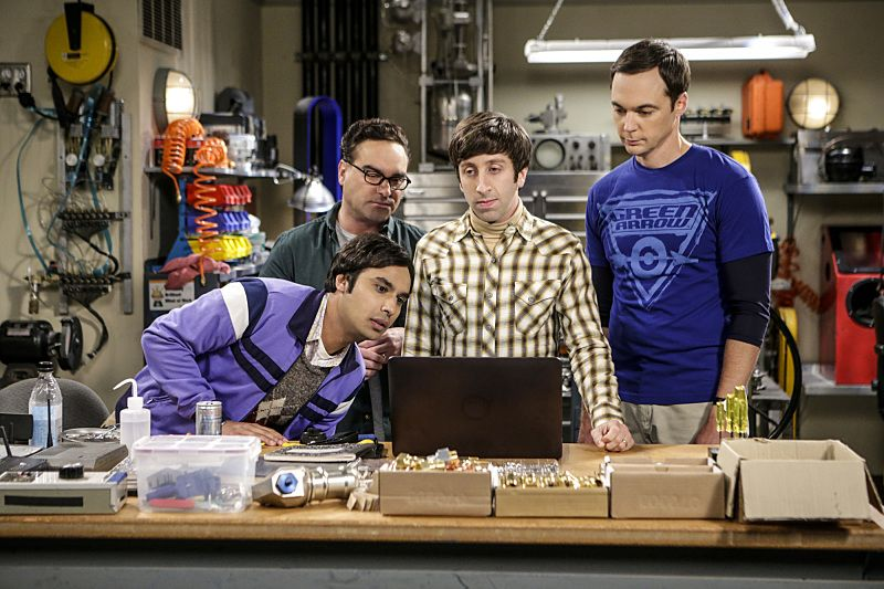 """""""The Military Miniaturization"""" -- Pictured: Rajesh Koothrappali (Kunal Nayyar), Leonard Hofstadter (Johnny Galecki), Howard Wolowitz (Simon Helberg) and Sheldon Cooper (Jim Parsons). Colonel Williams (Dean Norris), an Air Force representative from the Department of Material Command sits down to talk with Wolowitz, on THE BIG BANG THEORY, Monday, Sept. 26 (8:00-8:30, ET/PT), on the CBS Television Network. Photo: Sonja FlemmingCBS ©2016 CBS Broadcasting, Inc. All Rights Reserved."""