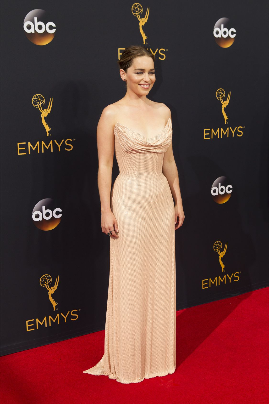 """THE 68TH EMMY(r) AWARDS - """"The 68th Emmy Awards"""" broadcasts live from The Microsoft Theater in Los Angeles, Sunday, September 18 (7:00-11:00 p.m. EDT/4:00-8:00 p.m. PDT), on ABC and is hosted by Jimmy Kimmel. (ABC/Rick Rowell) EMILIA CLARKE"""