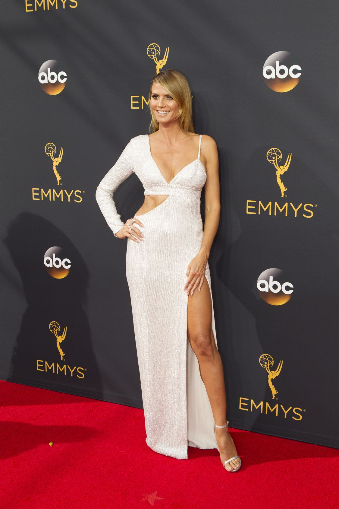"""THE 68TH EMMY(r) AWARDS - """"The 68th Emmy Awards"""" broadcasts live from The Microsoft Theater in Los Angeles, Sunday, September 18 (7:00-11:00 p.m. EDT/4:00-8:00 p.m. PDT), on ABC and is hosted by Jimmy Kimmel. (ABC/Rick Rowell) HEIDI KLUM"""
