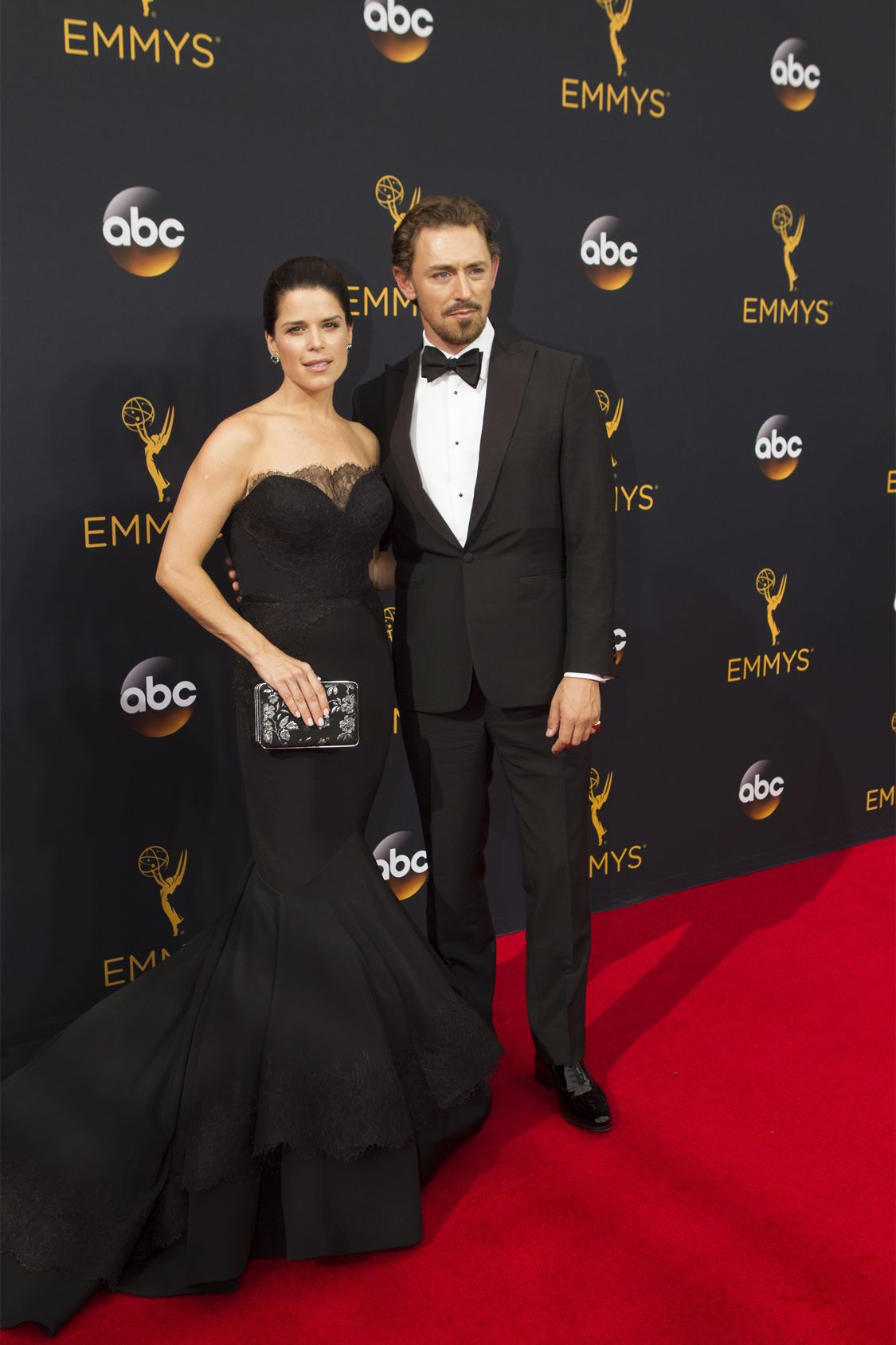 """THE 68TH EMMY(r) AWARDS - """"The 68th Emmy Awards"""" broadcasts live from The Microsoft Theater in Los Angeles, Sunday, September 18 (7:00-11:00 p.m. EDT/4:00-8:00 p.m. PDT), on ABC and is hosted by Jimmy Kimmel. (ABC/Rick Rowell) NEVE CAMPBELL"""