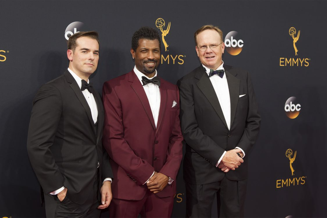 """THE 68TH EMMY(r) AWARDS - """"The 68th Emmy Awards"""" broadcasts live from The Microsoft Theater in Los Angeles, Sunday, September 18 (7:00-11:00 p.m. EDT/4:00-8:00 p.m. PDT), on ABC and is hosted by Jimmy Kimmel. (ABC/Rick Rowell) JEFF MEACHAM, DEON COLE, PETER MACKENZIE"""