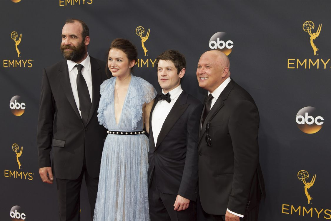 """RATHE 68TH EMMY(r) AWARDS - """"The 68th Emmy Awards"""" broadcasts live from The Microsoft Theater in Los Angeles, Sunday, September 18 (7:00-11:00 p.m. EDT/4:00-8:00 p.m. PDT), on ABC and is hosted by Jimmy Kimmel. (ABC/Rick Rowell) RORY MCCANN, HANNAH MURRAY, IWAN RHEON, CONLETH HILL"""