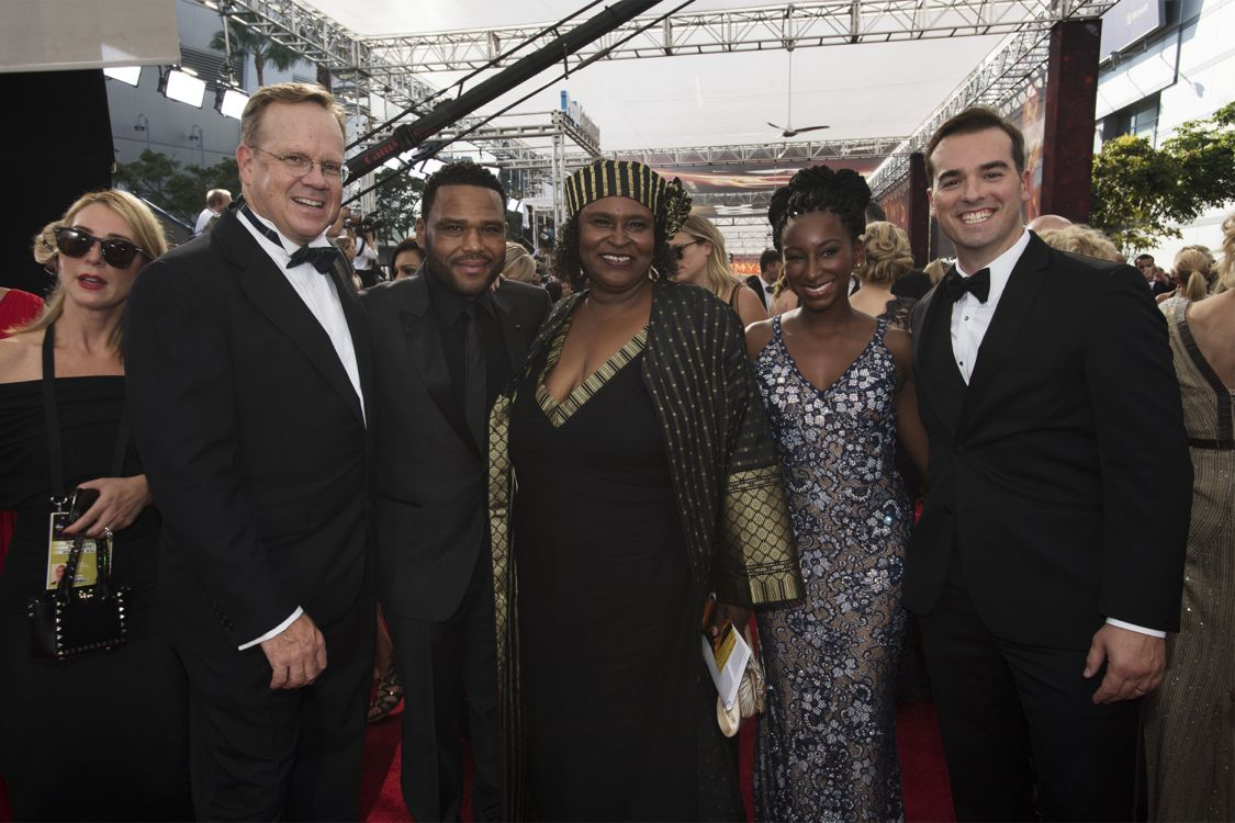 """THE 68TH EMMY(r) AWARDS - """"The 68th Emmy Awards"""" broadcasts live from The Microsoft Theater in Los Angeles, Sunday, September 18 (7:00-11:00 p.m. EDT/4:00-8:00 p.m. PDT), on ABC and is hosted by Jimmy Kimmel. (ABC/Image Group LA) PETER MACKENZIE, ANTHONY ANDERSON, DORIS, JEFF MEACHAM"""