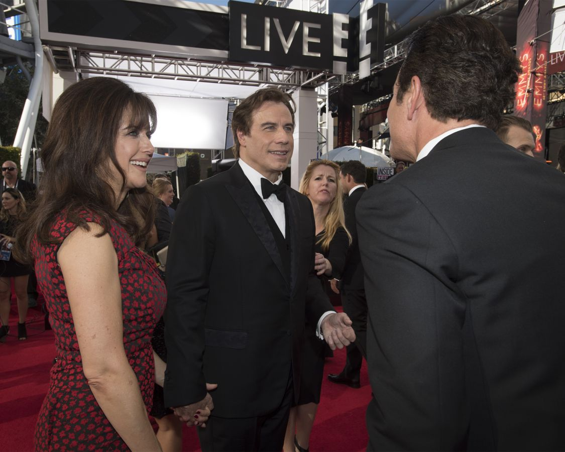 """THE 68TH EMMY(r) AWARDS - """"The 68th Emmy Awards"""" broadcasts live from The Microsoft Theater in Los Angeles, Sunday, September 18 (7:00-11:00 p.m. EDT/4:00-8:00 p.m. PDT), on ABC and is hosted by Jimmy Kimmel. (ABC/Image Group LA) KELLY PRESTON, JOHN TRAVOLTA"""