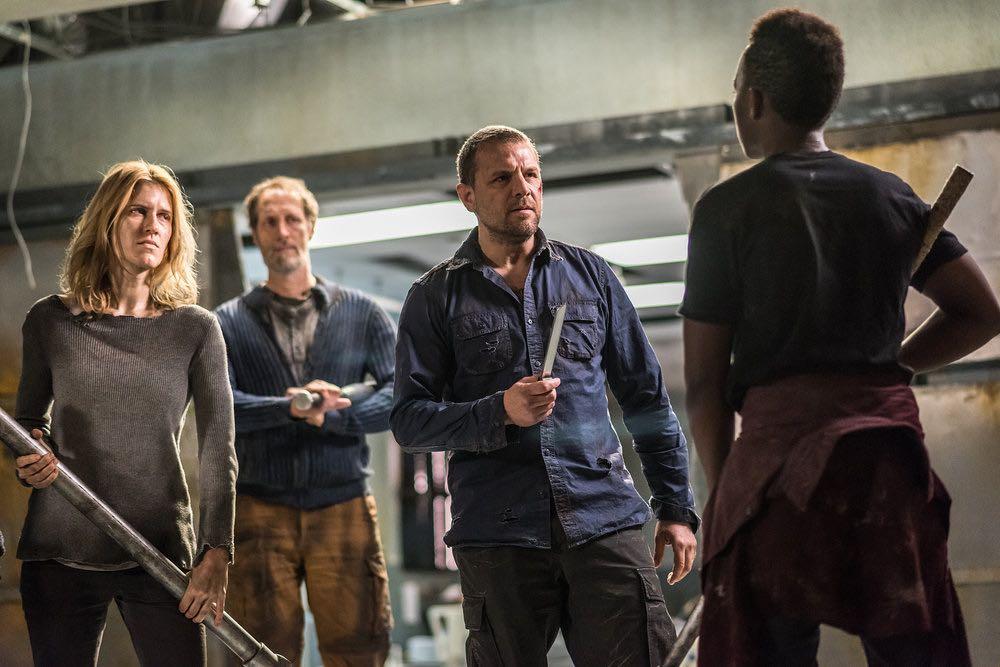 "VAN HELSING -- ""Help Me"" Episode 101 -- Pictured: (l-r) Alison Wazendura as Nicole, Christopher Heyerdahl as Sam, David Cubitt as John -- (Photo by: Dan Power/Helsing S1 Productions/Syfy)"
