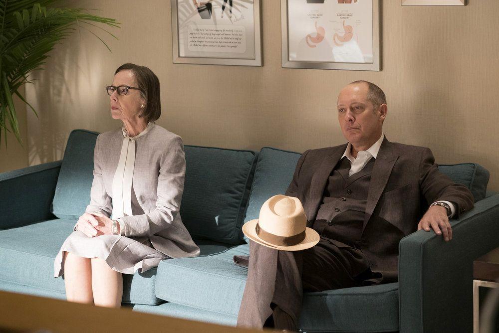 "THE BLACKLIST -- ""Mato #66"" Episode 402 -- Pictured: (l-r) Susan Blommaert as Mr. Kaplan, James Spader as Raymond ""Red"" Reddington -- (Photo by: Peter Kramer/NBC)"