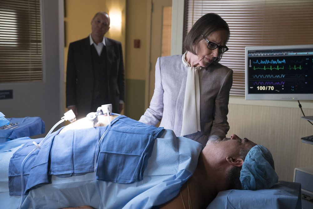 "THE BLACKLIST -- ""Mato #66"" Episode 402 -- Pictured: (l-r) James Spader as Raymond ""Red"" Reddington, Susan Blommaert as Mr. Kaplan, Jack Topalian as Little Nikos -- (Photo by: Peter Kramer/NBC)"