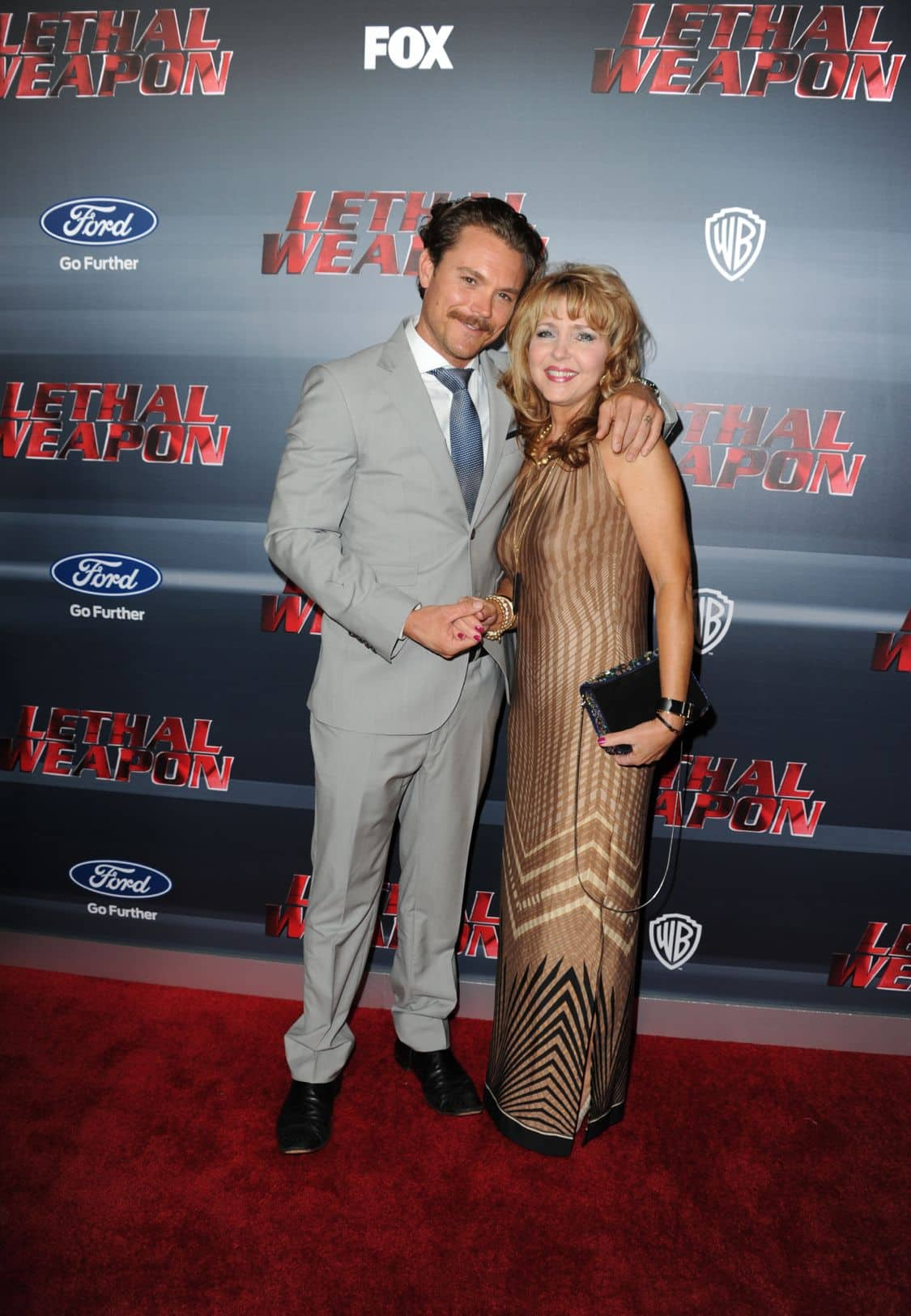 LETHAL WEAPON: Pictured L-R: Clayne Crawford and mother Lennie Crawford celebrate the LETHAL WEAPON premiere party at NeueHouse Hollywood on Monday, Sept. 12, in Los Angeles, CA, sponsored by Ford. LETHAL WEAPON premieres Wednesday, Sept. 21 (8:00-9:00 PM ET/PT) on FOX. ©2016 Fox Broadcasting Co. CR: Frank Micelotta/FOX