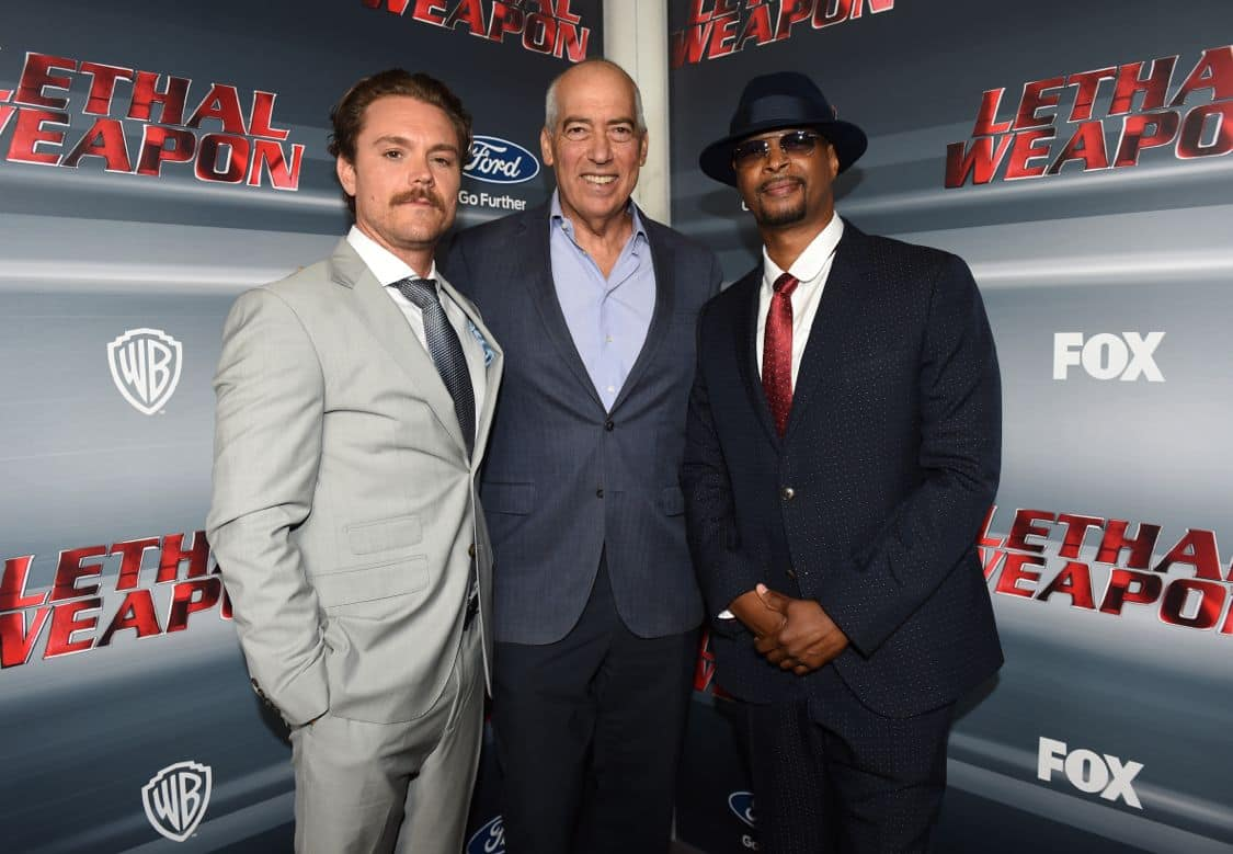 LETHAL WEAPON: Pictured L-R: Clayne Crawford, Chairman and CEO of Fox Television Group, Gary Newman, and Damon Wayans celebrate the LETHAL WEAPON premiere party at NeueHouse Hollywood on Monday, Sept. 12, in Los Angeles, CA, sponsored by Ford. LETHAL WEAPON premieres Wednesday, Sept. 21 (8:00-9:00 PM ET/PT) on FOX. ©2016 Fox Broadcasting Co. CR: Frank Micelotta/FOX