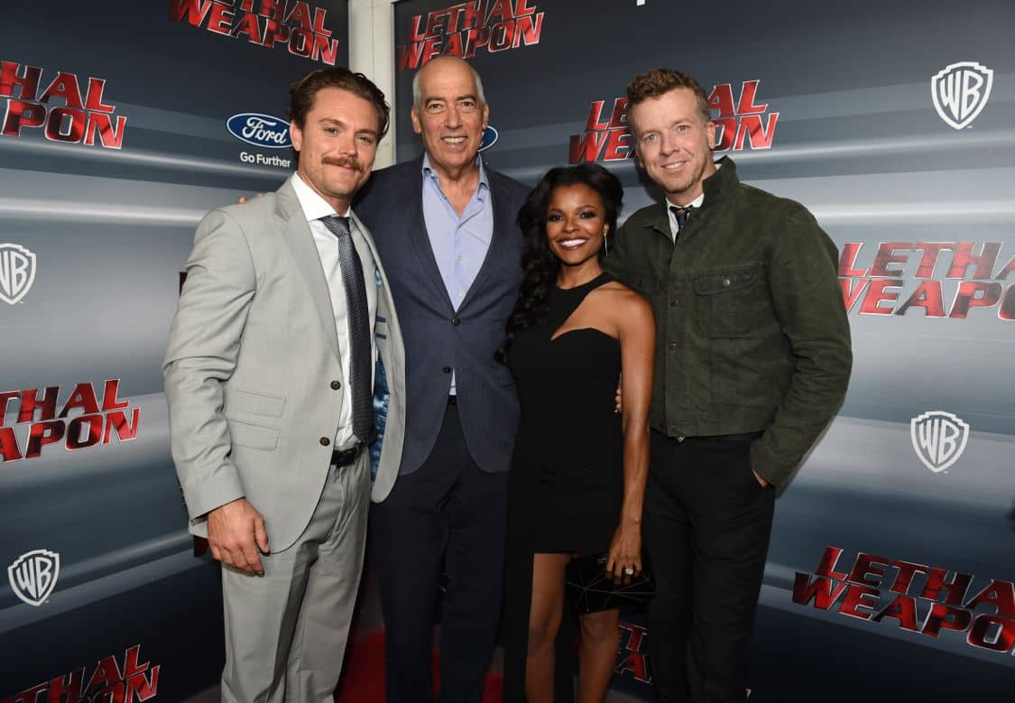 LETHAL WEAPON: Pictured L-R: Clayne Crawford, Chairman and CEO of Fox Television Group, Gary Newman, Keesha Sharp and Executive Producer McG celebrate the LETHAL WEAPON premiere party at NeueHouse Hollywood on Monday, Sept. 12, in Los Angeles, CA, sponsored by Ford. LETHAL WEAPON premieres Wednesday, Sept. 21 (8:00-9:00 PM ET/PT) on FOX. ©2016 Fox Broadcasting Co. CR: Frank Micelotta/FOX
