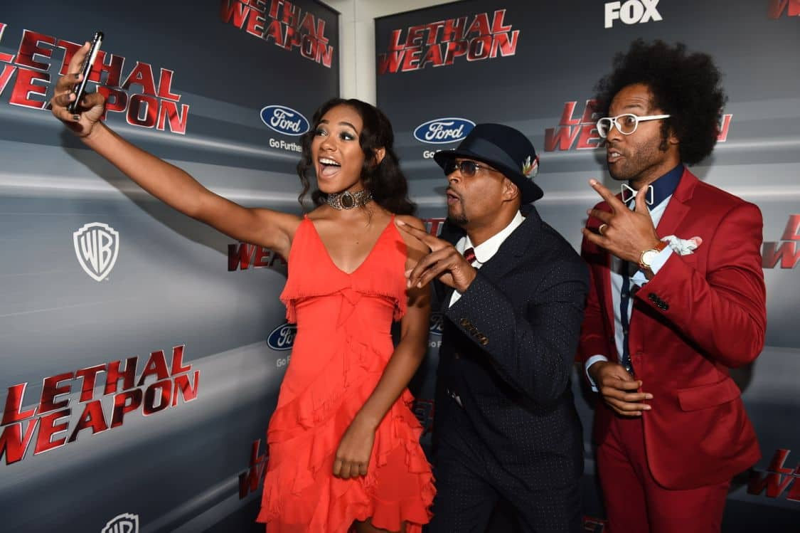 LETHAL WEAPON: Pictured L-R: Chandler Kinney, Damon Wayans and Johnathan Fernandez celebrate the LETHAL WEAPON premiere party at NeueHouse Hollywood on Monday, Sept. 12, in Los Angeles, CA, sponsored by Ford. LETHAL WEAPON premieres Wednesday, Sept. 21 (8:00-9:00 PM ET/PT) on FOX. ©2016 Fox Broadcasting Co. CR: Frank Micelotta/FOX