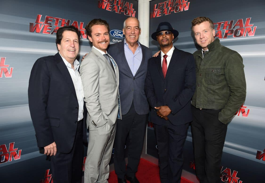 LETHAL WEAPON: Pictured L-R: President of Warner Bros Television Group, Peter Roth, Clayne Crawford, Chairman and CEO of Fox Television Group, Gary Newman, Damon Wayans and Executive Producer McG celebrate the LETHAL WEAPON premiere party at NeueHouse Hollywood on Monday, Sept. 12, in Los Angeles, CA, sponsored by Ford. LETHAL WEAPON premieres Wednesday, Sept. 21 (8:00-9:00 PM ET/PT) on FOX. ©2016 Fox Broadcasting Co. CR: Frank Micelotta/FOX