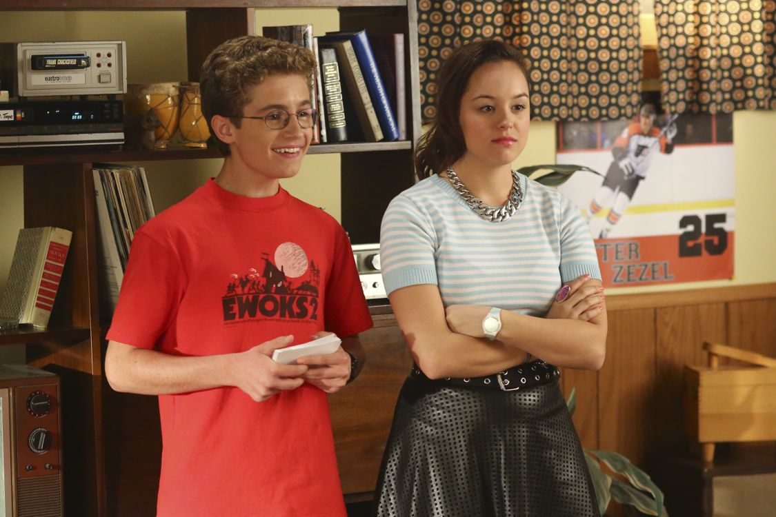 """THE GOLDBERGS -""""Physical Education Education"""" - Erica and Lainey try to find Bill a woman of interest by using new technology for dating. They recruit Adam to create a demo reel, but Beverly insists she will find someone the old fashioned way. Meanwhile, after a """"failed"""" aptitude test, Barry decides he wants to be a gym teacher and becomes Coach Mellor's apprentice, on """"The Goldbergs,"""" WEDNESDAY, SEPTEMBER 28 (8:00-8:30 p.m. EDT), on the ABC Television Network. (ABC/Michael Ansell) SEAN GIAMBRONEM, HAYLEY ORRANTIA"""