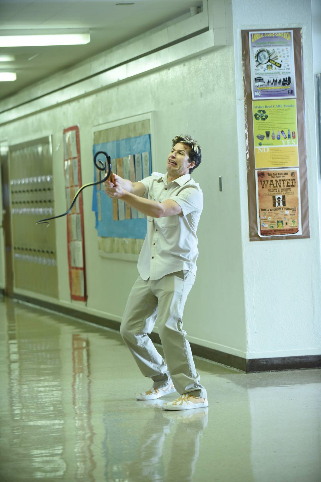 "BROOKLYN NINE-NINE: Andy Samberg in the ""Coral Palms Pt.1"" season premiere episode of BROOKLYN NINE-NINE airing Tuesday, Sept. 20 (8:00-8:31 PM ET/PT) on FOX. ©2016 Fox Broadcasting Co. CR: Ray Mickshaw/FOX."