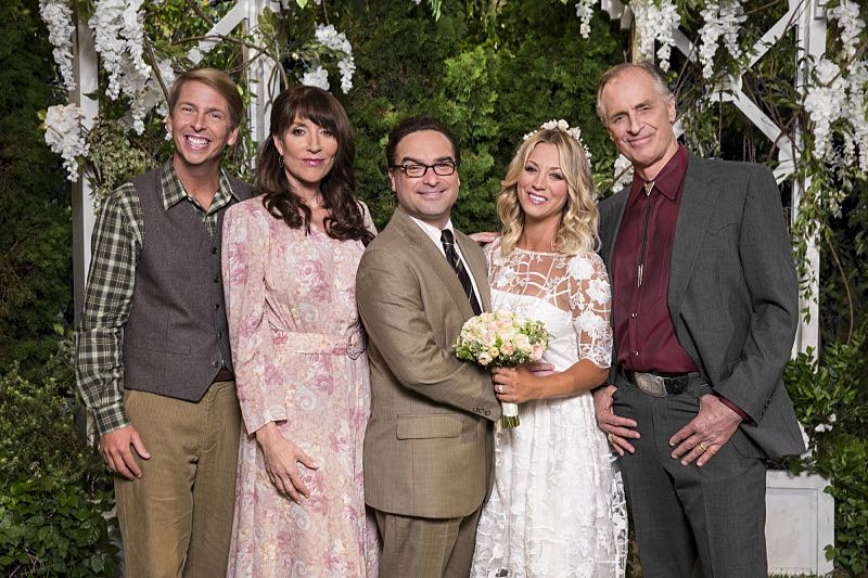 """The Conjugal Conjecture"" -- Pictured: Randall (Jack McBrayer), Susan (Katey Sagal), Leonard Hofstadter (Johnny Galecki), Penny (Kaley Cuoco) and Wyatt (Keith Carradine). After Sheldon's mother and Leonard's father share an evening together, everyone deals with an awkward morning the next day. Also, Penny's family arrives for the wedding ceremony, including her anxiety-ridden mother, Susan (Katey Sagal), and her drug dealing brother, Randall (Jack McBrayer), on the 10th season premiere of THE BIG BANG THEORY, Monday, Sept. 19 (8:00-8:30 PM, ET/PT), on the CBS Television Network. Dean Norris guest stars as Colonel Williams, an Air Force Representative from the Department of Materiel Command. Christine Baranski, Laurie Metcalf, Judd Hirsch and Keith Carradine return. Photo: Monty Brinton/Warner Bros. Entertainment Inc. © 2016 WBEI. All rights reserved."