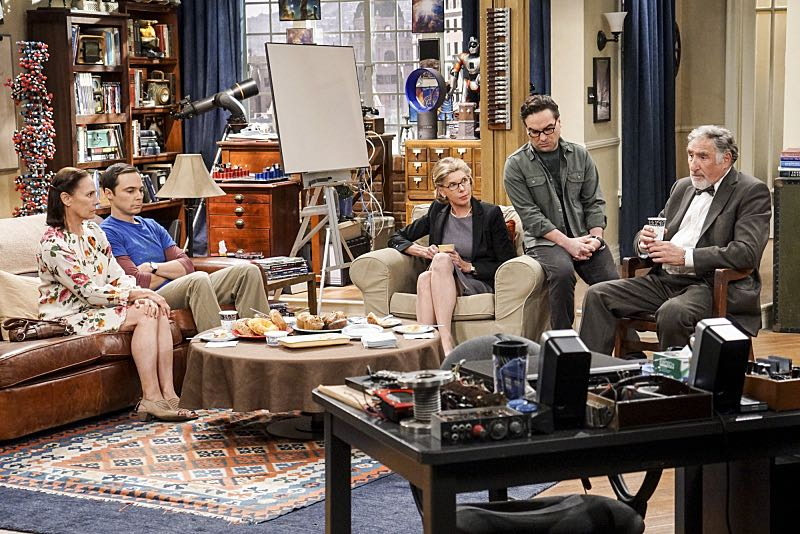 """The Conjugal Conjecture"" -- Pictured: Mary (Laurie Metcalf), Beverly (Christine Baranski), Leonard Hofstadter (Johnny Galecki) and Alfred (Judd Hirsch). After Sheldon's mother and Leonard's father share an evening together, everyone deals with an awkward morning the next day. Also, Penny's family arrives for the wedding ceremony, including her anxiety-ridden mother, Susan (Katey Sagal), and her drug dealing brother, Randall (Jack McBrayer), on the 10th season premiere of THE BIG BANG THEORY, Monday, Sept. 19 (8:00-8:30 PM, ET/PT), on the CBS Television Network. Dean Norris guest stars as Colonel Williams, an Air Force Representative from the Department of Materiel Command. Christine Baranski, Laurie Metcalf, Judd Hirsch and Keith Carradine return. Photo: Monty Brinton/Warner Bros. Entertainment Inc. © 2016 WBEI. All rights reserved."