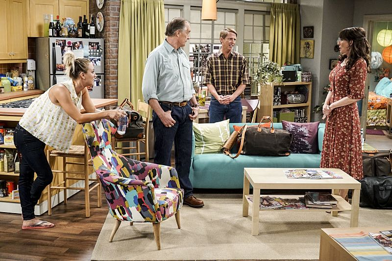 """The Conjugal Conjecture"" -- Pictured: Penny (Kaley Cuoco), Wyatt (Keith Carradine), Randall (Jack McBrayer) and Susan (Katey Sagal). After Sheldon's mother and Leonard's father share an evening together, everyone deals with an awkward morning the next day. Also, Penny's family arrives for the wedding ceremony, including her anxiety-ridden mother, Susan (Katey Sagal), and her drug dealing brother, Randall (Jack McBrayer), on the 10th season premiere of THE BIG BANG THEORY, Monday, Sept. 19 (8:00-8:30 PM, ET/PT), on the CBS Television Network. Dean Norris guest stars as Colonel Williams, an Air Force Representative from the Department of Materiel Command. Christine Baranski, Laurie Metcalf, Judd Hirsch and Keith Carradine return. Photo: Monty Brinton/Warner Bros. Entertainment Inc. © 2016 WBEI. All rights reserved."