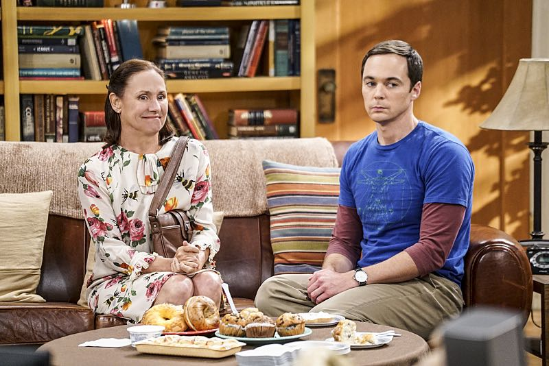 """The Conjugal Conjecture"" -- Pictured: Mary (Laurie Methalf) and Sheldon Cooper (Jim Parsons). After Sheldon's mother and Leonard's father share an evening together, everyone deals with an awkward morning the next day. Also, Penny's family arrives for the wedding ceremony, including her anxiety-ridden mother, Susan (Katey Sagal), and her drug dealing brother, Randall (Jack McBrayer), on the 10th season premiere of THE BIG BANG THEORY, Monday, Sept. 19 (8:00-8:30 PM, ET/PT), on the CBS Television Network. Dean Norris guest stars as Colonel Williams, an Air Force Representative from the Department of Materiel Command. Christine Baranski, Laurie Metcalf, Judd Hirsch and Keith Carradine return. Photo: Monty Brinton/Warner Bros. Entertainment Inc. © 2016 WBEI. All rights reserved."