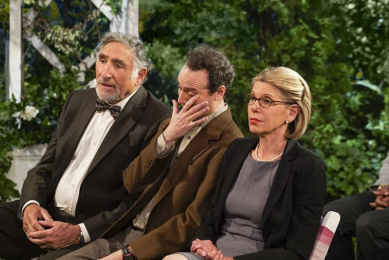 """The Conjugal Conjecture"" -- Pictured: Alfred (Judd Hirsch) and Beverly (Christine Baranski). After Sheldon's mother and Leonard's father share an evening together, everyone deals with an awkward morning the next day. Also, Penny's family arrives for the wedding ceremony, including her anxiety-ridden mother, Susan (Katey Sagal), and her drug dealing brother, Randall (Jack McBrayer), on the 10th season premiere of THE BIG BANG THEORY, Monday, Sept. 19 (8:00-8:30 PM, ET/PT), on the CBS Television Network. Dean Norris guest stars as Colonel Williams, an Air Force Representative from the Department of Materiel Command. Christine Baranski, Laurie Metcalf, Judd Hirsch and Keith Carradine return. Photo: Monty Brinton/Warner Bros. Entertainment Inc. © 2016 WBEI. All rights reserved."