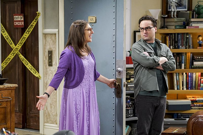 """The Conjugal Conjecture"" -- Pictured: Amy Farrah Fowler (Mayim Bialik) and Leonard Hofstadter (Johnny Galecki). After Sheldon's mother and Leonard's father share an evening together, everyone deals with an awkward morning the next day. Also, Penny's family arrives for the wedding ceremony, including her anxiety-ridden mother, Susan (Katey Sagal), and her drug dealing brother, Randall (Jack McBrayer), on the 10th season premiere of THE BIG BANG THEORY, Monday, Sept. 19 (8:00-8:30 PM, ET/PT), on the CBS Television Network. Dean Norris guest stars as Colonel Williams, an Air Force Representative from the Department of Materiel Command. Christine Baranski, Laurie Metcalf, Judd Hirsch and Keith Carradine return. Photo: Monty Brinton/Warner Bros. Entertainment Inc. © 2016 WBEI. All rights reserved."