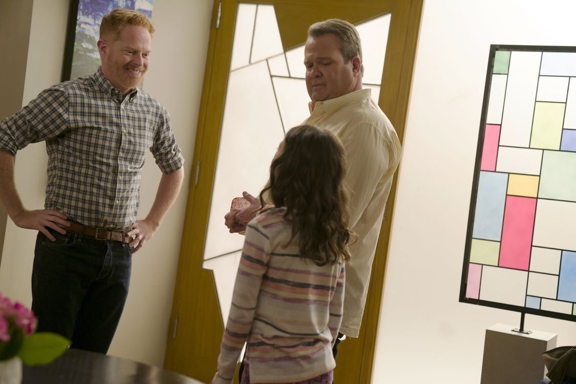 """MODERN FAMILY - """"A Tale of Three Cities"""" - After recent trips take the Dunphys to New York; Mitch, Cam and Lily to the Midwest; and Jay, Gloria, Manny and Joe to Juarez, Mexico; the Pritchett-Dunphy-Tucker clan reunites in its eighth season premiere with all of the families converging at home for Father's Day, on """"Modern Family,"""" TUESDAY, SEPTEMBER 21 (9:00-9:31 p.m. EDT), on the ABC Television Network. (ABC/Peter """"Hopper"""" Stone) JESSE TYLER FERGUSON, ERIC STONESTREET, AUBREY ANDERSON-EMMONS"""