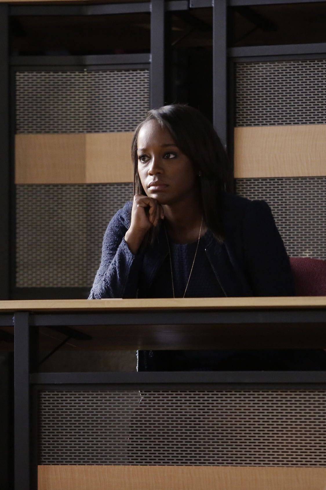 """HOW TO GET AWAY WITH MURDER - """"There Are Worse Things Than Murder"""" - With her job on the line, Annalise fights back against the Middleton University Board. Meanwhile, secrets are exposed as the Keating 5 compete to take on the case of a battered woman accused of murdering her husband, on """"How to Get Away with Murder,"""" THURSDAY, SEPTEMBER 29 (10:00-11:00 p.m. EDT), on the ABC Television Network. (ABC/Nicole WIlder) AJA NAOMI KING"""
