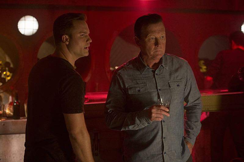 """""""Civil War"""" -- Team Scorpion must put aside their personal and romantic predicaments when anonymous hackers with unknown motives take control of U.S. military aircraft and warships and point weapons at American cities, on the special two-hour third season premiere of SCORPION, Monday, Oct. 3 (9:00-10:00, ET/PT), on the CBS Television Network. Pictured: Scott Porter (Tim Armstrong), Robert Patrick (Agent Cabe Gallo). Photo: Neil Jacobs/CBS ©2016 CBS Broadcasting, Inc. All Rights Reserved"""