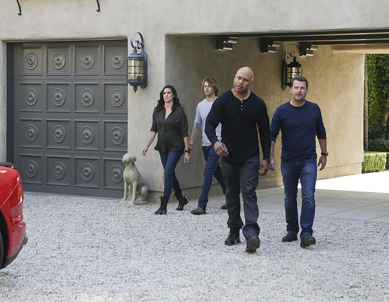 """High-Value Target"" and ""Belly of the Beast"" -- Pictured: Daniela Ruah (Special Agent Kensi Blye), Eric Christian Olsen (LAPD Liaison Marty Deeks), LL COOL J (Special Agent Sam Hanna) and Chris O'Donnell (Special Agent G. Callen). After NCIS fails to locate a mole in the department, Under Secretary of Defense Corbin Duggan (Jackson Hurst) insists on new leadership and takes over the Los Angeles unit from Hetty and Granger. Also, the team travels to Syria to apprehend a High Value Target where one team member is severely injured when the mission goes awry, on the special two hour eighth season premiere of NCIS: LOS ANGELES, Sunday, Sept. 25 (8:30-10:30 PM, ET/8:00-10:00 PM, PT), on the CBS Television Network. Photo: Sonja Flemming/CBS ©2016 CBS Broadcasting, Inc. All Rights Reserved."