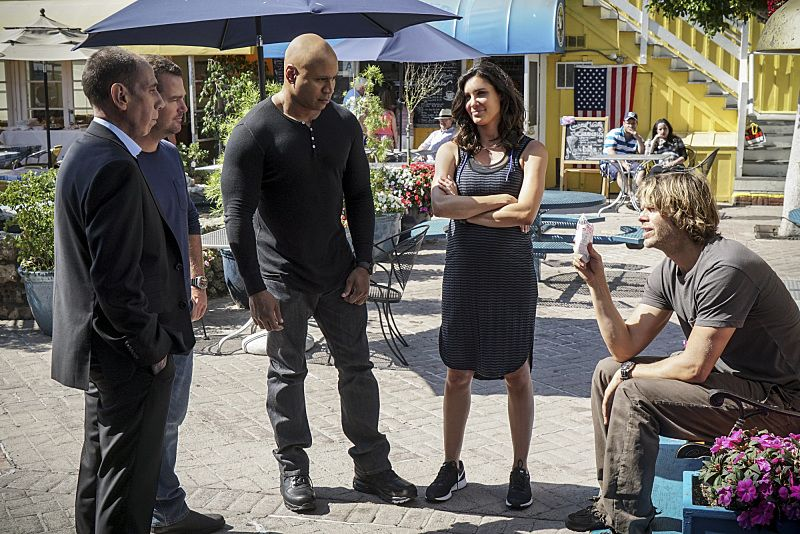 """""""High-Value Target"""" and """"Belly of the Beast"""" -- Pictured: Miguel Ferrer (NCIS Assistant Director Owen Granger), Chris O'Donnell (Special Agent G. Callen), LL COOL J (Special Agent Sam Hanna), Daniela Ruah (Special Agent Kensi Blye) and Eric Christian Olsen (LAPD Liaison Marty Deeks). After NCIS fails to locate a mole in the department, Under Secretary of Defense Corbin Duggan (Jackson Hurst) insists on new leadership and takes over the Los Angeles unit from Hetty and Granger. Also, the team travels to Syria to apprehend a High Value Target where one team member is severely injured when the mission goes awry, on the special two hour eighth season premiere of NCIS: LOS ANGELES, Sunday, Sept. 25 (8:30-10:30 PM, ET/8:00-10:00 PM, PT), on the CBS Television Network. Photo: Monty Brinton/CBS ©2016 CBS Broadcasting, Inc. All Rights Reserved."""
