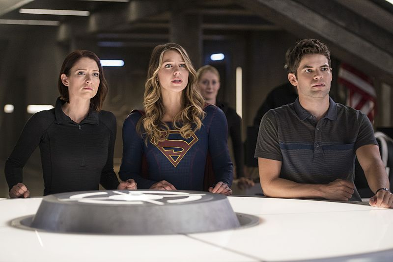 """Supergirl -- """"The Last Children of Krypton"""" -- Image SPG202b_0308 -- Pictured (L-R): Chyler Leigh as Alex Danvers, Melissa Benoist Kara/Supergirl, and Jeremy Jordan as Winn Schott -- Photo: Diyah Pera/The CW -- © 2016 The CW Network, LLC. All Rights Reserved"""