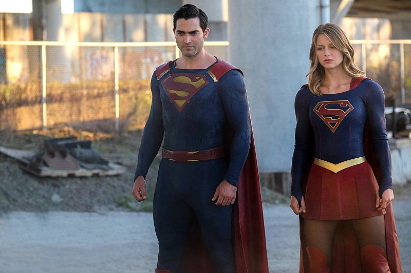 """Supergirl -- """"The Last Children of Krypton"""" -- Image -- SPG202A_150r -- Pictured (L-R) Tyler Hoechlin as Superman and Melissa Benoist as Supergirl -- Photo: Robert Falconer/The CW -- © 2016 The CW Network, LLC. All Rights Reserved"""