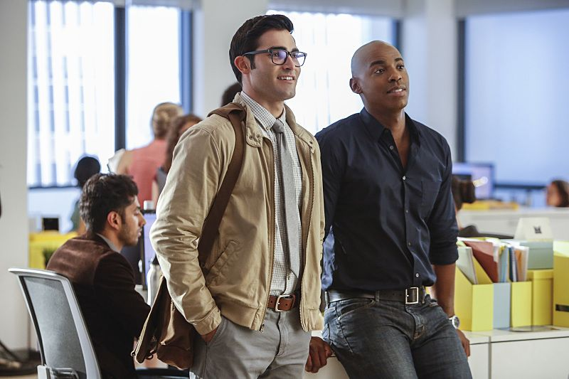 "Supergirl -- ""The Adventures Of Supergirl"" -- Image SPG201b_0149 -- Pictured (L_R) Tyler Hoechlin as Clark and Mehcad Brooks as James Olsen -- Photo: Bettina Strauss/The CW -- © 2016 The CW Network, LLC. All Rights Reserved"