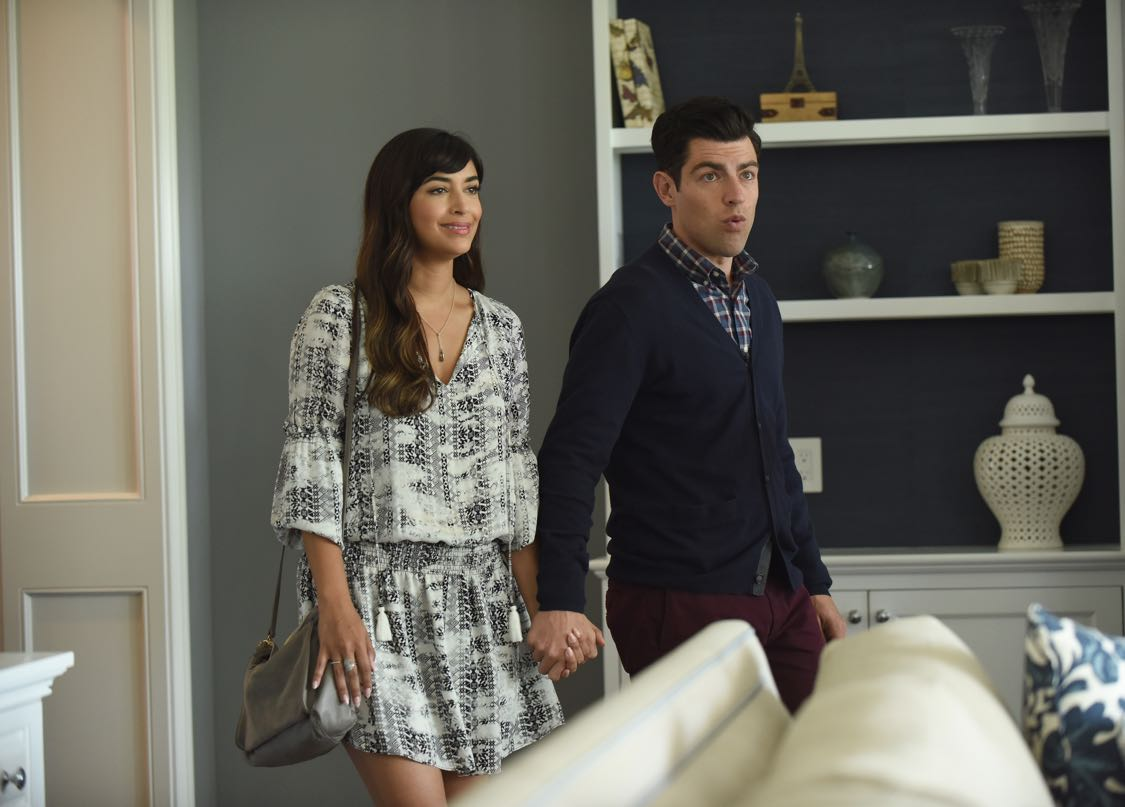 "NEW GIRL: L-R: Hannah Simone and Max Greenfield in the ""House Hunt"" season premiere episode of NEW GIRL airing Tuesday, Sept. 20 (8:30-9:00 PM ET/PT) on FOX. ©2016 Fox Broadcasting Co. Cr: Ray Mickshaw/FOX"