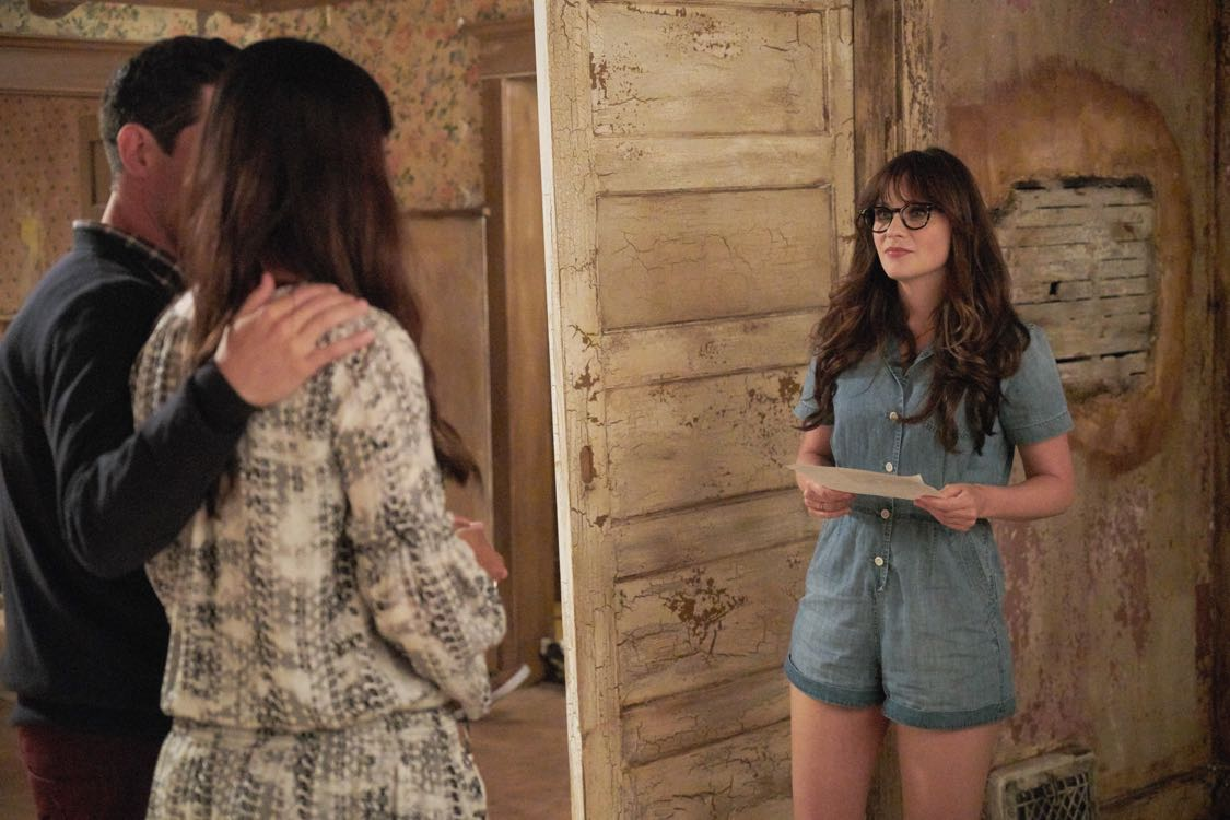 "NEW GIRL: L-R: Max Greenfield, Hannah Simone and Zooey Deschanel in the ""House Hunt"" season premiere episode of NEW GIRL airing Tuesday, Sept. 20 (8:30-9:00 PM ET/PT) on FOX. ©2016 Fox Broadcasting Co. Cr: Ray Mickshaw/FOX"